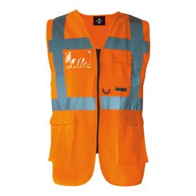 Vest multi-function, high-visibility Orange. EN ISO 20471:2013 + A1:By 2016, the Oeko-Tex® Standard 100