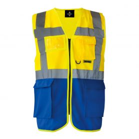 Vest Yellow/Blue multi-function, high-visibility stripes reflective 5 cm
