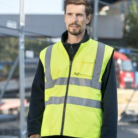 Reversible vest with padding, high visibility to EN ISO 20471:2013 + A1:2016, Class 2