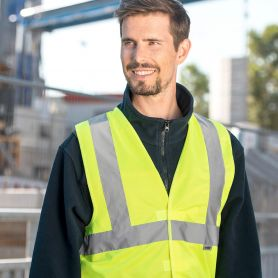 Vest high visibility, three bands, EN ISO 20471:2013 + A1:By 2016, the Oeko-Tex® Standard 100