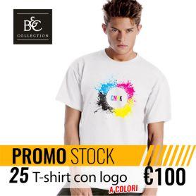 Stock 25 T-Shirt DTG Unisexe à Manches Courtes B&C personnalisé avec votre logo couleur
