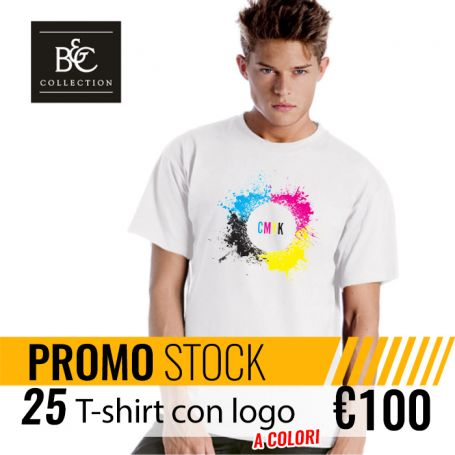 Stock 25 T-Shirt DTG Unisex Short Sleeve B&C custom with your logo color