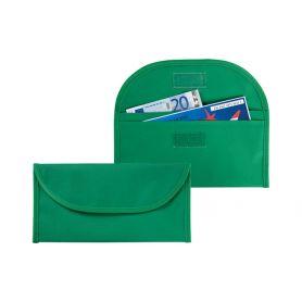 Porta Voucher verde da viaggio 2 tasche in Nylon, personalizzabile con il tuo logo