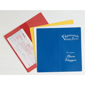 Porta Voucher da viaggio con 2 tasche, 12,2 x 24,2 cm, personalizzabile con il tuo logo