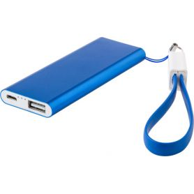 Powerbank aluminium, a 2,000 mAh battery. USB + Micro USB. Customizable with your logo