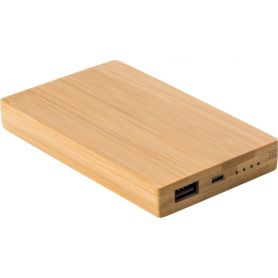 Powerbank Bamboo, 4,000 mAh). USB + Micro USB. Customizable with your logo