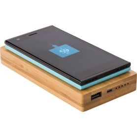 Powerbank Bamboo, 6.000 mAh multimedia Wireless. USB + Micro USB. Customizable with your logo
