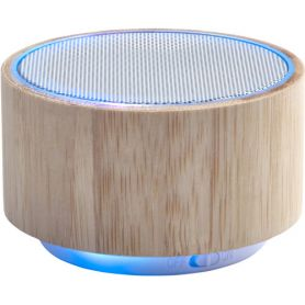 Wireless Speaker with Bamboo and ABS with multicolor lights. Customizable with your logo
