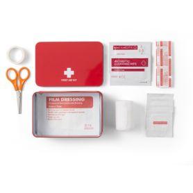 Kit primo soccorso con custodia in alluminio, mod.E. Personalizzabile con il tuo logo