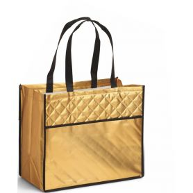 Shopping bag Deluxe (quilt effect ) in TNT Laminated, 38 x 32.5 x 20 cm