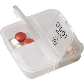 Porta Pillole, 4 scomparti, tascabile. Personalizzabile con il tuo logo