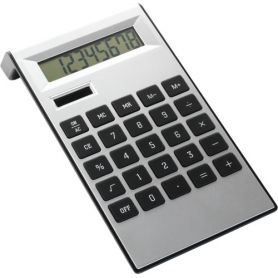 8-digit calculator, with dual power. Customizable with your logo