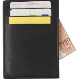 Porta carte di credito RFID, in pelle. Personalizzabile con il tuo logo!
