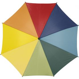 Automatic multicolor umbrella Ø 103.5 x 88.5 cm, wooden handle. Customizable with your logo!