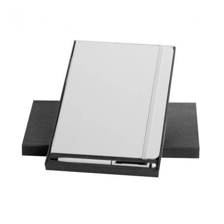 Set parure Notes 14 x 21 cm with pen and case. Customizable with your logo
