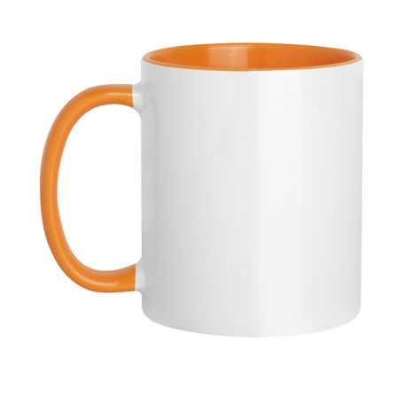 Ceramic cup 320 ml Subli Orange Color. Customizable with your logo
