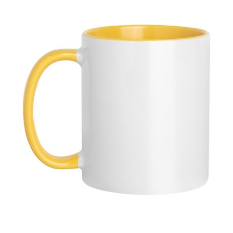 Ceramic cup 320 ml Subli Yellow Color. Customizable with your logo