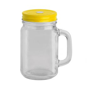 500 ml glass jar with screw lid and straw slit.