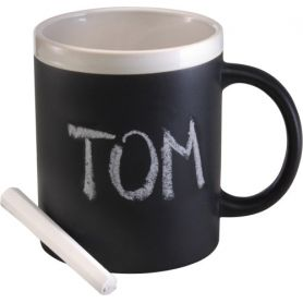 Ceramic cup with chalk to write on the surface. 300ml
