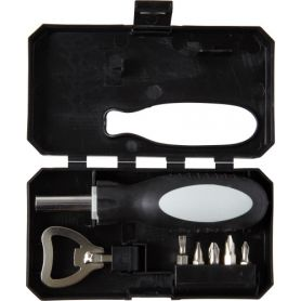 Ensemble d'outils 8 éléments avec ouvre-bouteille, tournevis et boîtier.