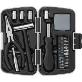 Ensemble d'outils de 21 éléments en aluminium et en métal. Avec cas ABS.
