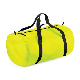 Fluo tubular duffel bag with double handle, 210D polyester, light and waterproof. 50 x 30 x 26 cm