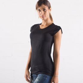 Women's Slub T-Shirt ( flamed ) 100% Cotton. No Label. Black Spider