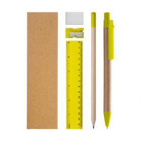 Pen set, pencil, ruler, eraser and pencil sharpete with ecological case