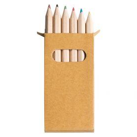 Set 6 mini pastelli con custodia in cartoncino naturale. 4,5 x h9 x 0,8 cm