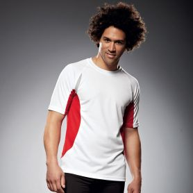 T-Shirt Sport White Men's Running-T, Unisex. Traspirante, bordini rigrangenti. James & Nicholson