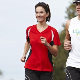 T-Shirt Sport Ladies' Running-T, Femme. Bord respirant et réfractif. James et Nicholson