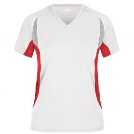 T-Shirt Sport White Ladies' Running-T, Femme. Bord respirant et réfractif. James et Nicholson