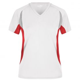T-Shirt Sport White Ladies' Running-T, Donna. Traspirante, bordini rigrangenti. James & Nicholson