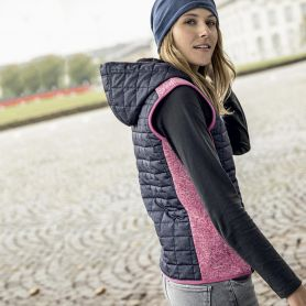Gilet smanicato Ladies' Knitted Hybrid Vest, Donna, James & Nicholson
