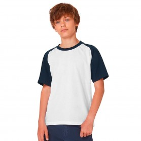 T-Shirt Base-Ball/Kids Bicolore Manica Corta B&C