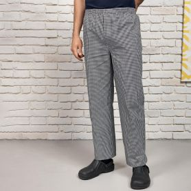 Chef's trousers in easy care fabric, stretch waist, unisex sizes. Premier