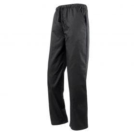 Pantaloni da Chef unisex, elastico in vita. Total Black. Lavabile a 60°C. Premier