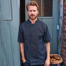 Jacket/Chef's Jacket Blue Denim Chef's Zip-Close Short Sleeve Jacket. Long sleeve. Unisex. Premier