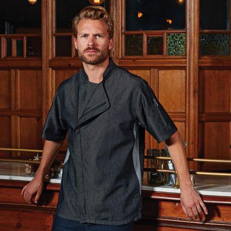 Jacket/Jacket chef Black Denim Chef's Zip-Close Short Sleeve Jacket. Long sleeve. Unisex. Premier