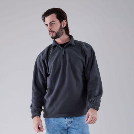 Half zip sweatshirt, Fleece half zip. 290 gr/sqm. Unisex. Black Spider