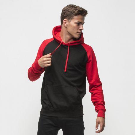 Hoodie Baseball Sweatshirt 280 gr/m2. Mr Black. Two-tone. 80/20. Unisex. Just Hoods