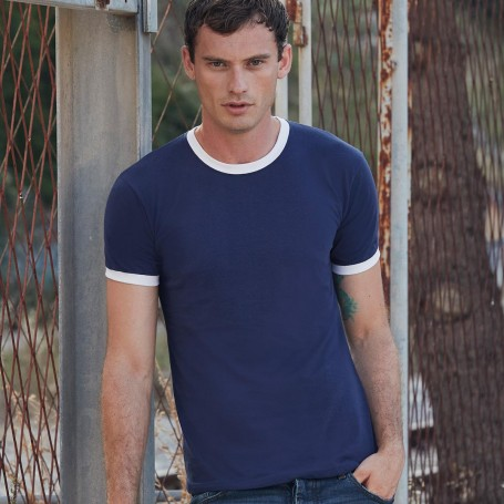T-Shirt Valueweight Ringer T Two-Tone Unisex Short Sleeve Fruit Of The Loom