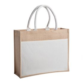 Shopping bag / sea in jute and cotton. 45 x 35 x 11 cm, short handles. With pocket