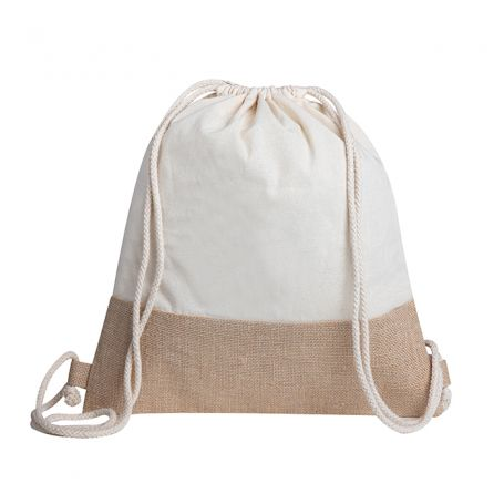 Bag carries everything, jute and cotton backpack. 38 x 42 cm. Katy