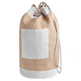 Backpack bag brings everything in jute and cotton. Ø 23 x h45 cm. Jami