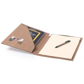 Rigid recycled cardboard folder, with block notes and pen. 23 x 32 x 1.5 cm
