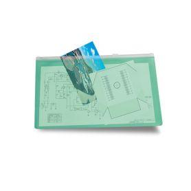 Porta documenti con zip in PVC trasparente 25 x 17,8 cm