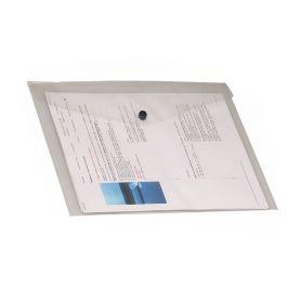 Porta documenti A5 con bottone in PVC lucido trasparente 24 x 17 cm