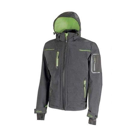 SPACE U-Power soft shell jacket. Unisex - Asphalt Grey Green