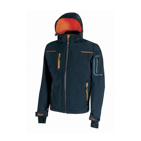 SPACE U-Power soft shell jacket. Unisex - Deep Blue Orange